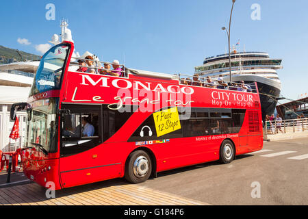 Tourists on city sightseeing tour bus and Zuiderdam cruise liner, Monaco, Cote D'Azur, France - Stock Photo