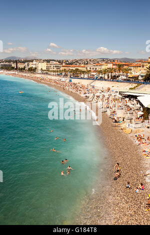 Baie Des Anges, Promenade Des Anglais, and beach, Nice, Cote D'Azur, France - Stock Photo