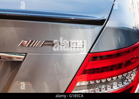 Close up of rear of a Mercedes car with the AMG logo, Spain - Stock Photo
