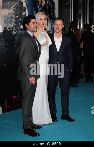 LONDON - MAY 9, 2016: Oscar Isaac, Jennifer Lawrence, James McAvoy attends the X-Men: Apocalypse - UK fan screening - Stock Photo