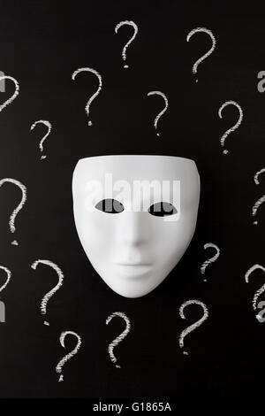 White mask on black background with hand drawn chalk question marks. Who am I ? Identity concept. Vertical image. - Stock Photo