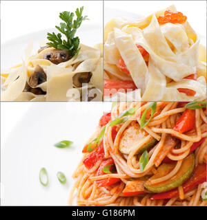 Collage with assorted delicious italian pasta closeup isolated - Stock Photo
