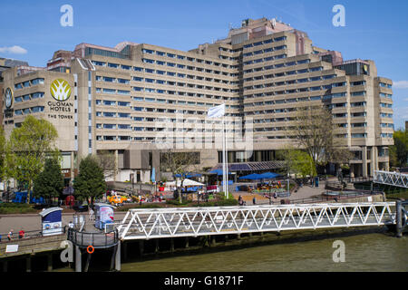 LONDON, UK - MAY 4TH 2016: The Tower Guoman hotel situated on the north bank of the River Thames in London, on 4th - Stock Photo