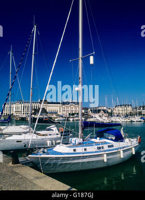 Trouville from Deauville Normandy France EU with expensive yachts moored in harbour in fishermens village in commune - Stock Photo