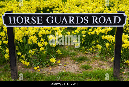 A street sign for Horse Guards Road in central London. - Stock Photo