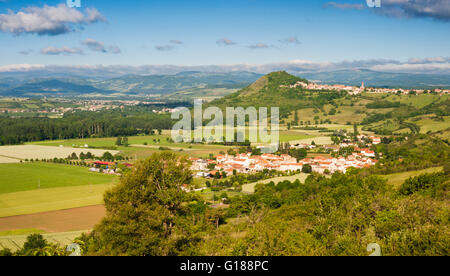 View over the villages of Orsonette and Nonette, Puy-de-Dome, Auvergne, illustrating the rift valley topography - Stock Photo