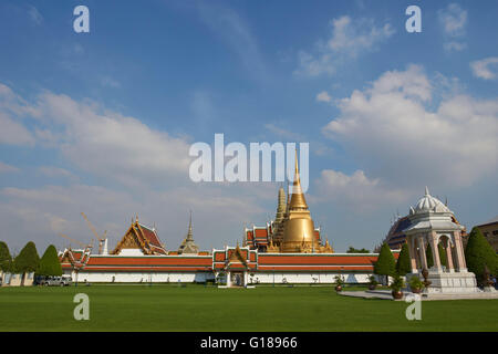 Wat Phra Kaew from entrance, Grand Palace, Bangkok, Thailand - Stock Photo