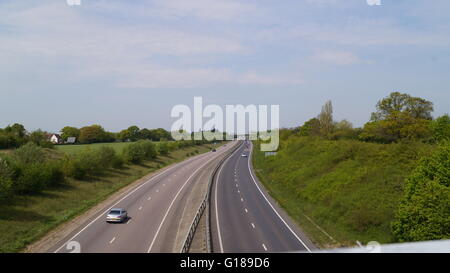 A120 west of Braintree, Essex on a sunny day with a few cars on the dual carriage way - Stock Photo