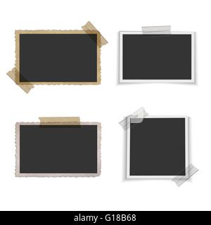 Old blank photo frame with tape - Stock Photo
