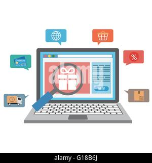 Laptop with online shopping icons - Stock Photo