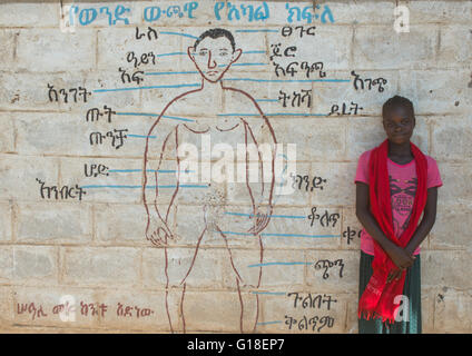Nyangatom tribe teenage girl in front of a school mural, Omo valley, Kangate, Ethiopia - Stock Photo