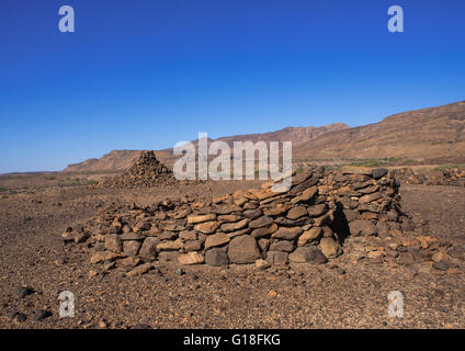 Old afar tribe grave in the danakil desert, Afar region, Semera, Ethiopia - Stock Photo