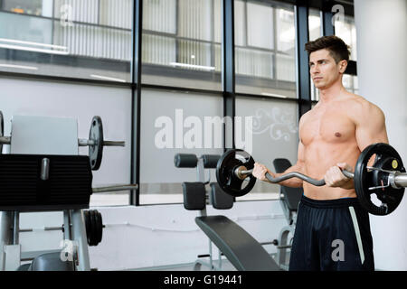 Muscular man bodybuilding in gym, lifting weights - Stock Photo