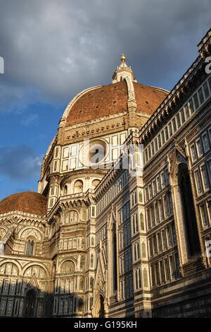 Florence, Italy. The Duomo (Cathedral), begun in 1296. The dome, designed by Brunelleschi, was completed in 1436. - Stock Photo