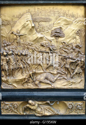 Detail of East Doors (the u0027Gates of Paradise & Florence Baptistery David and Goliath bronze panel East doors ... pezcame.com