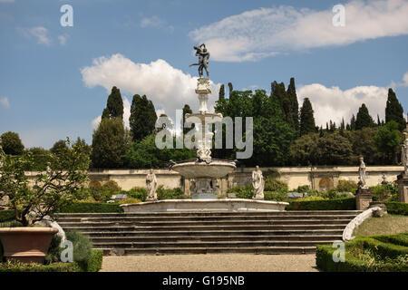 Villa di Castello (Villa Reale), near Florence, Italy. The Fountain of Hercules and Antaeus, by Tribolo and Ammannati - Stock Photo
