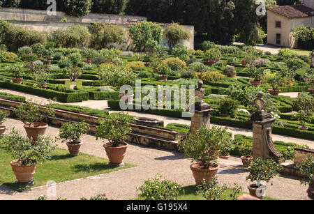 Villa di Castello (Villa Reale), near Florence, Italy. The citrus garden filled with pots of lemon trees and other - Stock Photo