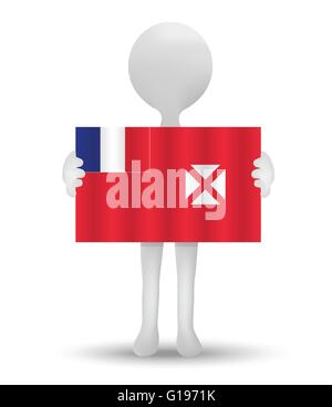small 3d man holding a flag of Wallis and Futuna - Stock Photo