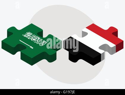 Saudi Arabia and Yemen Flags in puzzle isolated on white background - Stock Photo