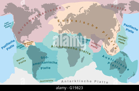 Tectonic Plates With Names World Map With Fault Lines Of Major - World map with names