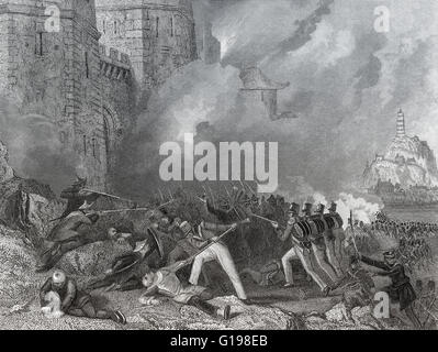 British troops capture Chin-Keang-Foo, the Battle of Chinkiang, 1842, First Opium War - Stock Photo