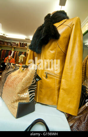 Leather Fashion products, Spain - Stock Photo