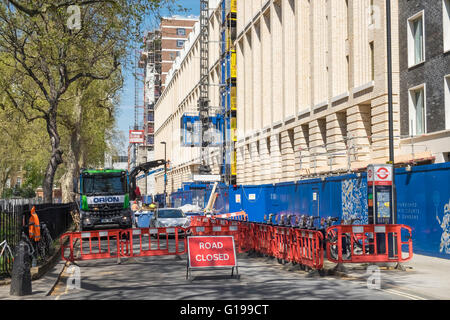Closed road during building work, Bloomsbury, Central London, England UK - Stock Photo