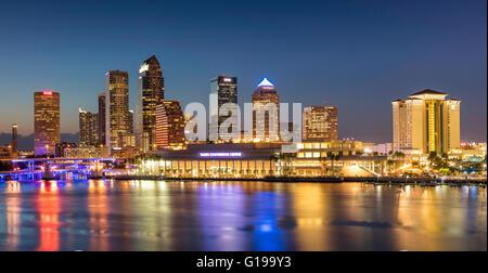 Twilight over the skyline of Tampa, Florida, USA - Stock Photo