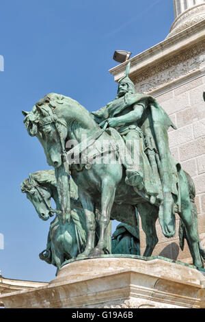 King Arpad statue on the Millennium Memorial in Budapest, Hungary