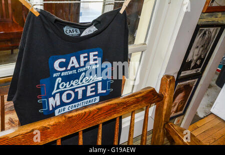 Tee Shirts at Reception area with famous Country Stars head shots on wall at the Loveless Cafe & Motel, Nashville, - Stock Photo
