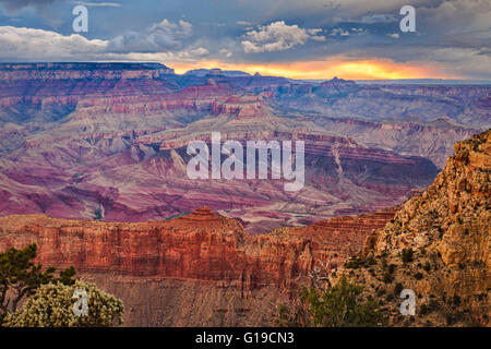 Dramatic sunset after a storm from the south rim of the Grand Canyon at Moran Point, Grand Canyon National Park, - Stock Photo