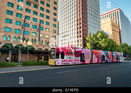 Tram running along King William street in the Adelaide CBD - Stock Photo