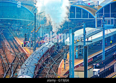 Flying Scotsman steam locomotive engine Newcastle upon Tyne - Stock Photo