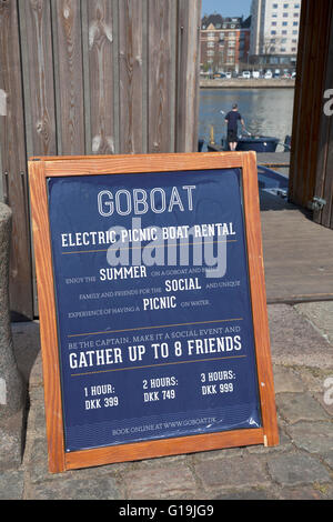 Rental of solar powered electric picnic boats at GOBOAT at Islands Brygge, Copenhagen, for trips in the harbour - Stock Photo