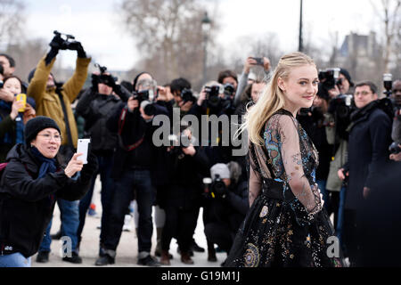 Actress Dakota Fanning at Valentino Show during Paris Fashion Week RTW fall-winter 2016-2017 - Stock Photo