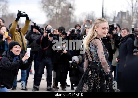 Actress Dakota Fanning at Valentino Show during Paris Fashion Week RTW fall-winter 2016-2017 - Stock Photo