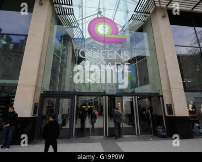Queens Arcade,shopping centre,UK - Stock Photo