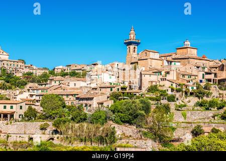 Sant Bartomeu Church in the village of Valldemossa, Majorca, Spain - Stock Photo