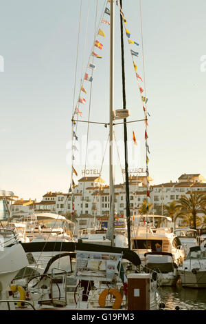 Puerto Banus harbour at sunset, Costa del Sol, Andalusia, Spain Europe - Stock Photo