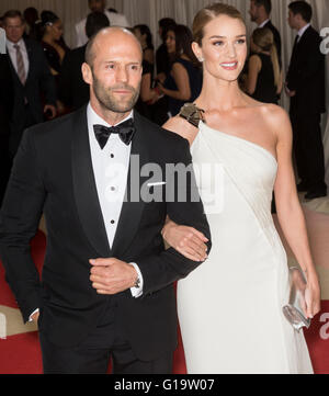 New York City, USA - May 2, 2016: Actor Jason Statham and model Rosie Huntington-Whiteley attends the 2016 Met Gala - Stock Photo