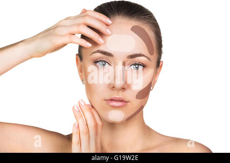 Make up woman face. Contour and highlight makeup. Isolated on white - Stock Photo