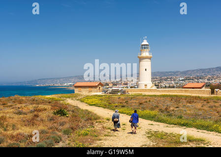 Old lighthouse in city of Paphos, Cyprus - Stock Photo