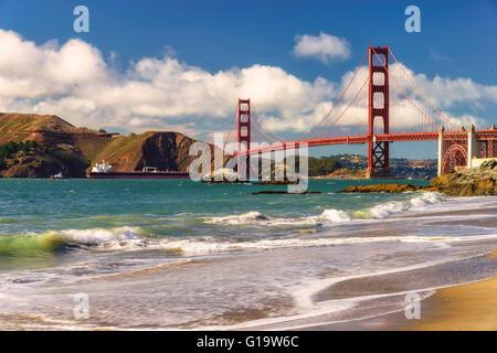 Golden Gate Bridge from Marshall Beach, San Francisco - Stock Photo