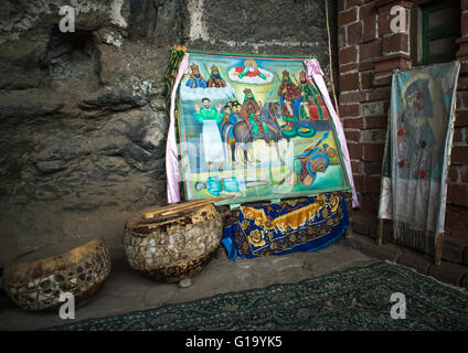 Drums and paintings in nakuto lab rock church, Amhara region, Lalibela, Ethiopia - Stock Photo