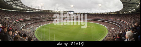 Melbourne, Australia - April 25, 2015: Panoramic view of Melbourne Cricket Ground on ANZAC Day 2015 - Stock Photo