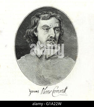 Oliver Cromwell 1599-1658 portrait with signature - Stock Photo