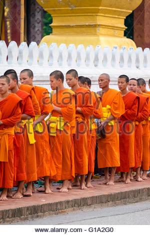 Buddhist novice monks recieve alms (Tak Bat) in front of Wat Sene Souk Haram temple, Luang Prabang, Louangphabang - Stock Photo