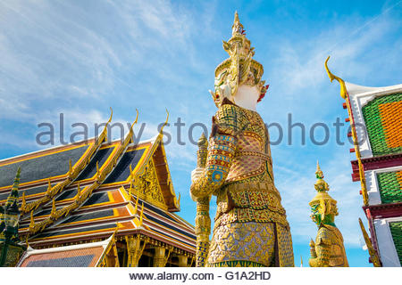 Yaksha Thotsakhirithon statue in front of Phra Ubosot, Temple of the Emerald Buddha (Wat Phra Kaew), Grand Palace, - Stock Photo