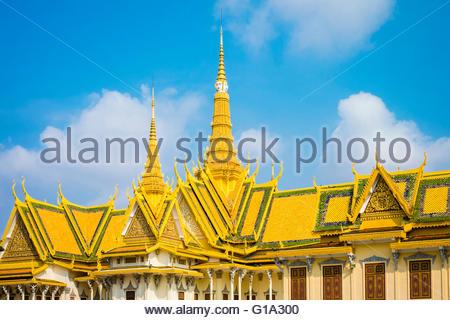 Throne Hall (Preah Thineang Dheva Vinnichay) of the Royal Palace, Phnom Penh, Cambodia - Stock Photo