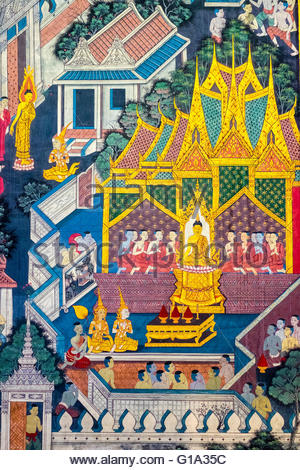 Colorful painted murals depicting scenes from life of Buddha, inside Wat Pho (Temple of the Reclining Buddha), Bangkok, - Stock Photo